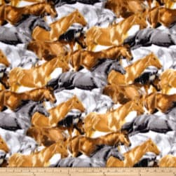 Fleece Running Horses Brown Fabric