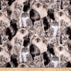 Fleece Lots of Cats Grey Fabric