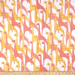 Fleece Stylized Giraffe Pink Fabric