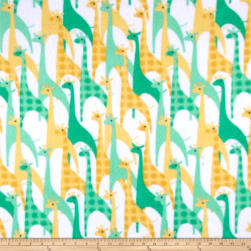 Flannel Stylized Giraffe Aqua Fabric
