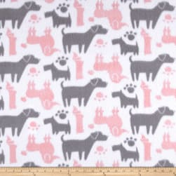 Fleece Dog Silhouettes Pink Fabric