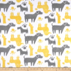 Fleece Dog Silhouettes Yellow Fabric