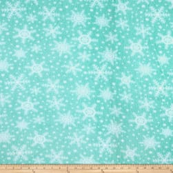Fleece Snowflakes Aqua Fabric