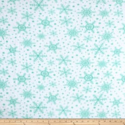 Fleece Snowflakes White Fabric