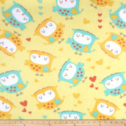 Fleece Owls & Hearts Yellow Fabric
