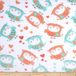 Fleece Owls & Hearts White Fabric