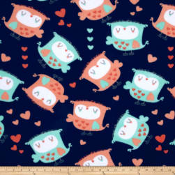 Fleece Owls & Hearts Dark Blue Fabric
