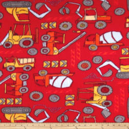 Fleece Construction Zone Red Fabric