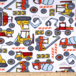 Fleece Construction Zone White Fabric