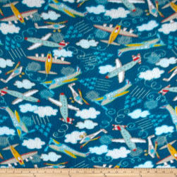 Fleece Planes Dark Blue Fabric