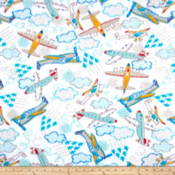 Fleece Planes White Fabric