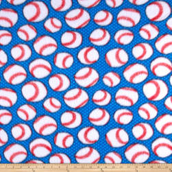 Fleece Baseballs Blue Fabric