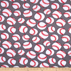 Fleece Baseballs Grey Fabric