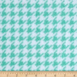Fleece Houndstooth Aqua Fabric