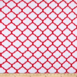 Fleece Trellis Red Fabric