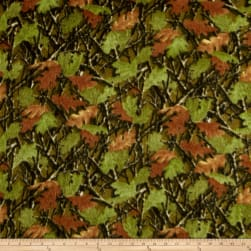 Fleece Leaves Green Fabric