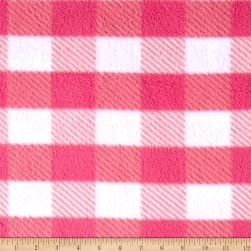 Fleece Gingham Plaid Pink Fabric