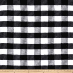Fleece Gingham Plaid Black Fabric