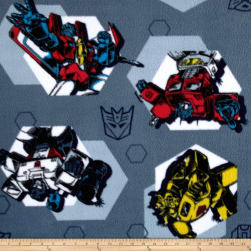 Fleece Transformers - Polygons Blue Fabric