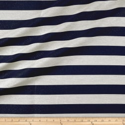 French Designer Metallic Jacquard Stripe Navy/White Fabric