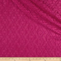 Italian Embroidered Voile Floral Fuchsia Fabric