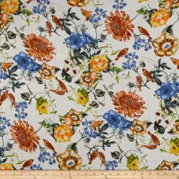 French Couture Viscose Gauze Floral Bird White Multi