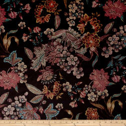 Italian Couture Stretch Panne Velvet Floral Brown Fabric