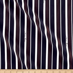Nina Ricci Signature Stripe Silk Navy/Brown/White Fabric