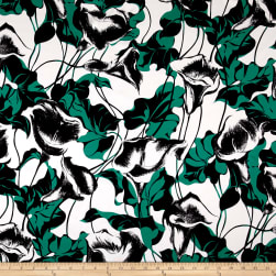 Max Mara Silk Digital Print Floral Green/White/Black Fabric