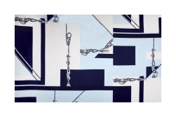Max Mara Silk Digital Print Nautical Blue/White Fabric