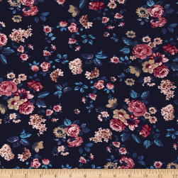 Italian Couture Stretch Viscose Jersey Knit Floral Navy/Red