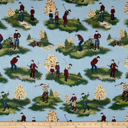 On The Links Golfers Jacquard Toile Blue Fabric