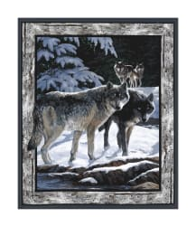 Wild Wings Silver Shadows Wolf Wall 36'' Panel Multi Fabric