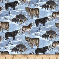 Wild Wings Silver Shadows Wolf Coordinate Multi Fabric