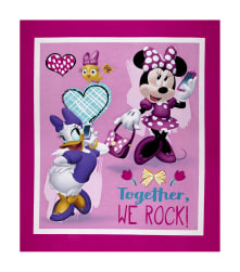 Disney Minnie Happy Helpers Together We Rock Panel Pink Fabric
