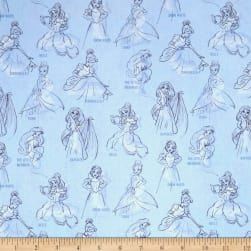 Disney Princess Fashion Princess Allover Blue Fabric