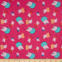 Peppa Pig One Big Family Pink Fabric
