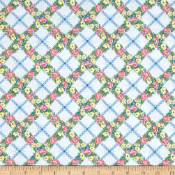 Penny Rose Mae Flowers Trellis Blue Fabric