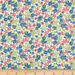 Penny Rose Mae Flowers Floral Blue Fabric
