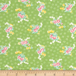 Penny Rose Mae Flowers Bouquet Green Fabric