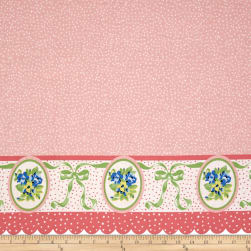 Penny Rose Mae Flowers Border Pink Fabric