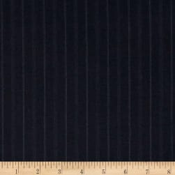 Super 120 100% Wool Twill Suiting Stripe Navy