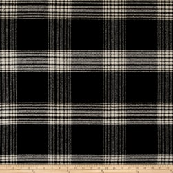 Wool Blend Coating Plaid Black/Cream Fabric