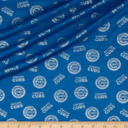 MLB Chicago Cubs Jersey Knit Silver/Blue Fabric