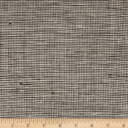 100% European Linen Houndstooth Chocolate Fabric