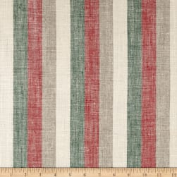 100% European Linen Stripe Green/Red/White Fabric