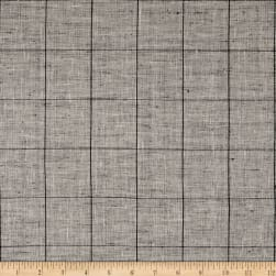 100% European Linen Plaid White/Black Fabric