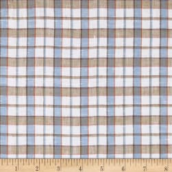 100% European Linen Sky Multi Plaid Fabric