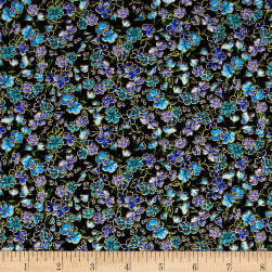 Timeless Treasures Metallic Enchanted Tossed Flowers Black Fabric