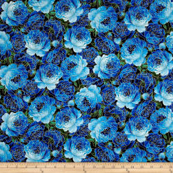 Timeless Treasures Metallic Enchanted Packed Roses Blue Fabric
